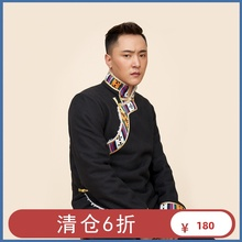 清仓6gl 藏服装男te冬 藏族氆氇外套短式 冬装加绒  藏式棉服