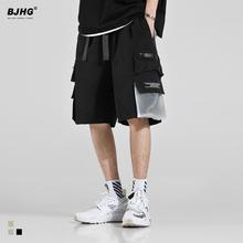 BJHgn夏工装短裤ed美式高街宽松HIPHOP嘻哈口袋飘带休闲五分裤