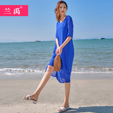 裙子女2020新go5夏蓝色雪fd假连衣裙波西米亚长裙沙滩裙超仙