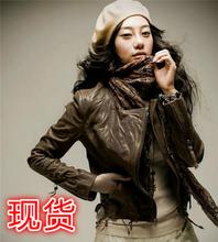 韩款新式真皮皮衣女go6搭式皱褶er闲女式修身短式外套咖啡色