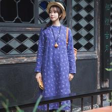 中国风go衣女装棉麻ow扣棉衣女时尚加绒连衣裙冬季长式棉服袍