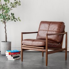 北欧单go沙发椅美式ei闲卧室客厅阳台懒的真皮艺靠背老虎椅子