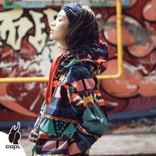 COPgo原创潮牌外in20年新式女春秋薄式双面花夹克百搭女士短外套