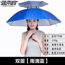 伞帽头gp伞大号防晒rf鱼伞帽子头戴式户外垂钓遮阳头顶雨伞41