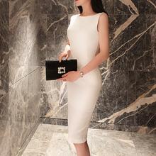 白色一字肩连衣裙女gr6季无袖修du勤包臀气质(小)黑裙黑色裙子