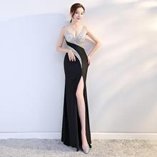 夜店新gr宴会长式连du感钻饰拼接显瘦长裙气质优雅晚装礼服女