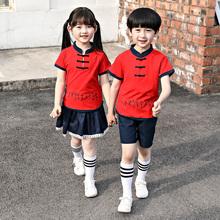 幼儿园园服夏款中国风gr7袖套装(小)en风班服复古风唐装演出服
