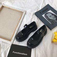 (小)sun家 (小)皮鞋女英伦单鞋2021年gr16款jken搭复古玛丽珍鞋