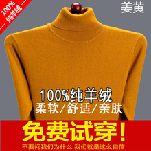 秋冬季gr码宽松中年at衫品牌折扣V领羊绒毛衣男式高领父亲装