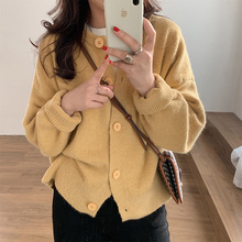 鹅黄色gr绒针织开衫at20新式秋冬宽松外穿复古温柔短式毛衣外套