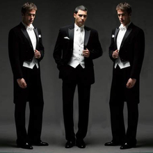黑色燕gr服男演出美en唱服男士主持歌手西服套装新郎结婚礼服