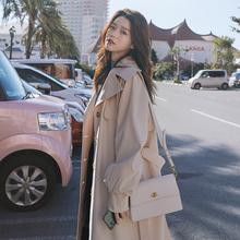 女士风gr2021春en韩款气质大衣英伦风休闲过膝长式时尚外套女