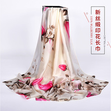【包邮】女士时尚百搭gr7花长丝巾en格春秋冬季长围巾 披肩
