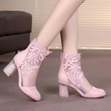 春季镂gr女靴真皮高en短靴粗跟百搭蕾丝网靴包头中空牛皮凉靴