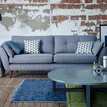 代简约gr欧客厅三的en咖啡厅皮艺日式沙发(小)户型家具组合B25