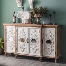 美式复gr实木玄关柜en雕花轻奢餐边柜民宿客厅装饰门厅储物柜