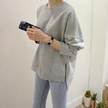 k93gr韩国女装新en21毛圈简约前短后长纯色纯棉套头长袖女卫衣