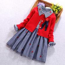 女童毛衣裙gr2装洋气(小)gc裙套装秋冬新式宝宝新年加绒连衣裙