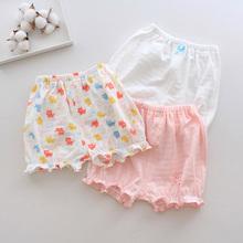 3条装gr季女宝宝竹gc童短裤纯棉薄式花边三分裤外穿灯笼裤