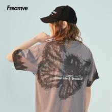 Fregrmve潦草es蝴蝶印花情侣装夏装短袖T恤男潮流嘻哈半袖体恤