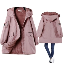 冬季新式韩款bf棉衣女中长式加绒加gr14大码宽si外套显瘦