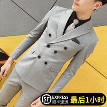[greta]韩版修身双排扣西服套装男