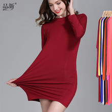 加绒厚gr代尔中长式kj高领打底衫 T恤卫包臀连衣裙修身纯色女
