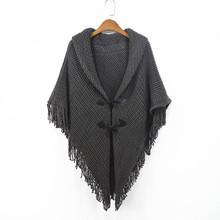 复古中gr式流苏斗篷dw针织开衫女装大码不规则蝙蝠衫毛衣外套