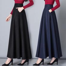 秋冬半身裙长裙女毛呢黑色高腰大gr12长式aun复古冬季新式