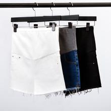 孕妇装gr夏季韩国时un托腹牛仔孕妇短裤白色外穿大码打底裤子