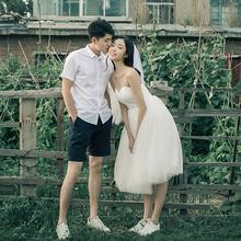 简约轻gs纱森系超仙ge门纱白色短裙领证平时可穿吊带(小)礼服