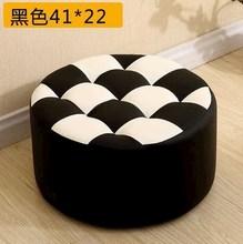 。皮客gs圆柱形高圆sy发家用蹲蹬凳子坐墩椅子实木欧式皮墩可