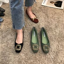 单鞋女gs020春式mq方扣水钻平底鞋百搭浅口温柔风气质工作女鞋