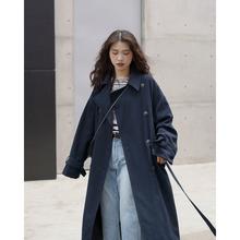 欧阳喜gs长式风衣女qf新式韩款宽松过膝大衣开衫翻领气质外套