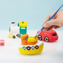 宝宝手gsdiy制作wa膏娃娃涂色全套装陶瓷玩具存钱罐白胚填色