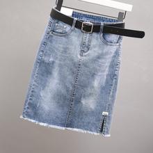 欧洲站牛gt1裙女夏季10新款弹力毛边包臀中裙潮显瘦一步半身裙子