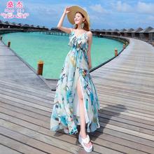 沙滩裙gu泰国巴厘岛u5西米亚雪纺V领吊带裙海边连衣裙长裙夏