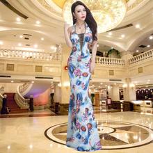 性感夜gu晚礼服20ao式夏季修身长式晚装主持年会演出宴会连衣裙