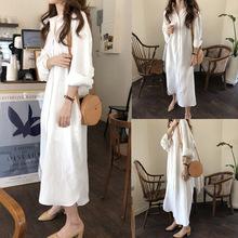 长式白gu衫女202un宽松韩款设计感(小)众超长式过膝大码衬衣裙寸