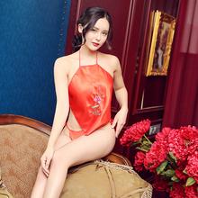 透明成gu性感复古红wa式情趣内衣女士古典成的套装