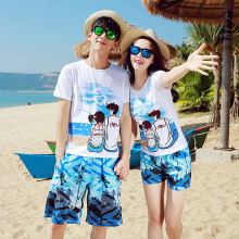 送拖鞋gu滩情侣装夏de20新式蜜月海边度假套装韩范女男短袖t恤
