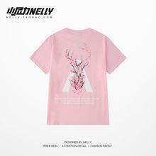 国潮嘻gu潮牌宽松男dens鹿oversize五分袖大码情侣夏装短袖T恤
