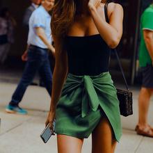 insgu规则系带蝴ua身裙女2021新式欧美高腰性感气质包臀短裙