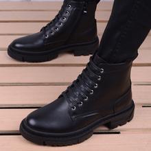 马丁靴gu高帮冬季工ie搭韩款潮流靴子中帮男鞋英伦尖头皮靴子