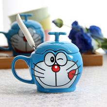 叮当猫gu通创意水杯ai克杯子早餐牛奶咖啡杯子带盖勺