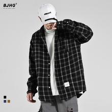 秋季2021格子男士日系gu9款宽松百ai典休闲衬衣外套