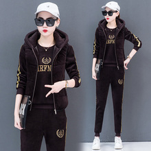 女时尚gu020新式da加绒加厚双面绒秋冬韩款休闲卫衣