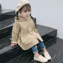 女童春gu外套202lu宝宝中长式宝宝洋气风衣(小)童装外套时髦大衣