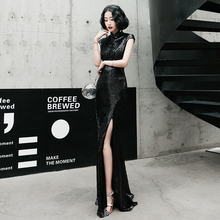 黑色高gu气质宴会名wm服女2021新式高贵优雅主持的长式鱼尾裙