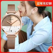 显白女表ins正品韩国时gv9女士腕表co休闲百搭防水日历手表
